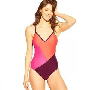 NWT Kona Sol Block One Piece Swimsuit Large Purple